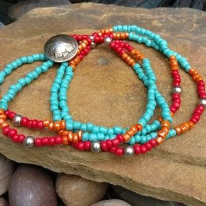Indian nickle and sterling bead wrap bracelet